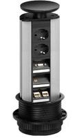 Встраиваемый модуль для подключения мультимедийных устройств (2эл. розетки, 2 RJ-45, VGA,1 аудиоразъем) Evoline 931.01.979 черный