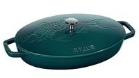 Сковорода овальная для рыбы Staub 32 см с чугунной крышкой 11223337