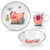 Сервиз детский 3 предмета Piggeldy Seltmann Weiden (кружка, тарелка 20 см, салатник 16 см)