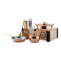 Набор медной посуды 4 предметов: сотейник ковш сковорода 4 деревянные лопатки серия Historia decor RUFFONI 3305B