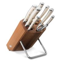 Набор из 6 - ти ножей с мусатом и ножницами на деревянной подставке WUESTHOF серия Ikon Cream White 9879 WUS